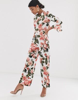 UNIQUE21 satin floral open back jumpsuit