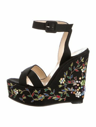 Christian Louboutin Floral Print Embroidered Accent Espadrilles Black