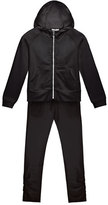 Moncler Hooded Track Jacket w/ Ruched Pants, Black, Size 8-14