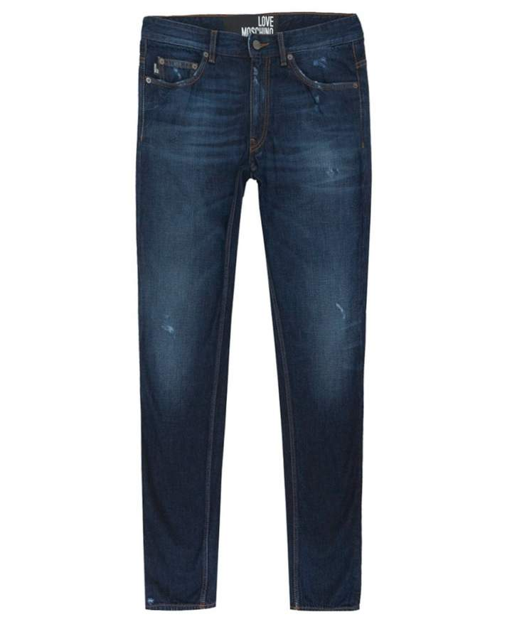 Moschino Peace Logo Slim Fit Jeans Colour: WASH BLUE, Size: 38R