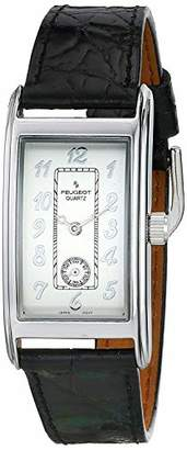Peugeot Men's Classic Vintage Watch - Curved Stainless Steel Case with Genuine Leather Band