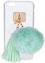 ashlyn'd Transparent iPhone 6 Case w/ Fur Pompom, Aqua