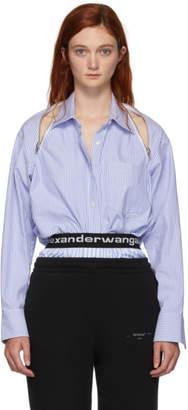 Alexander Wang Blue Striped Shoulder Zipper Shirt