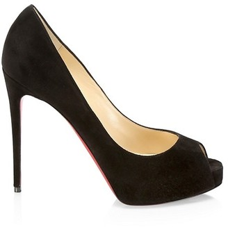 Christian Louboutin New Very Prive Peep-Toe Suede Pumps