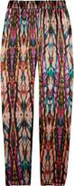 Printed silk-satin pants