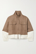 Thumbnail for your product : Apiece Apart Selva Cropped Two-tone Linen And Cotton-blend Twill Jacket - Brown