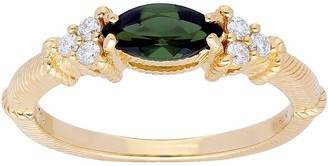 Judith Ripka 14K Gold Gemstone Diamond Ring