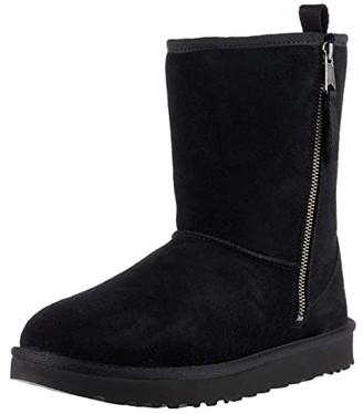 UGG SINGLE SHOE - Classic Short Dual Zip Boot (Black) Women's Boots