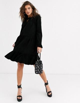 Object suede smock frill mini dress in black