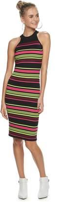 Almost Famous Juniors' Sleeveless Halter Neck Striped Midi Dress