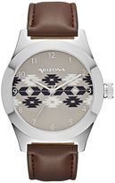 Arizona Mens Brown Strap Watch-Fmdarz524