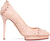 Charlotte Olympia Debbie studded laser-cut leather pumps