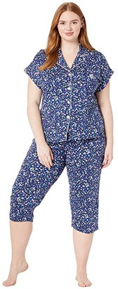 Lauren Ralph Lauren Plus Size Cotton Rayon Jersey Knit Notch Collar Dolman Capri Pants Pajama Set (Navy Print) Women's Pajama Sets