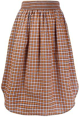 Cédric Charlier Gingham Check Midi Skirt