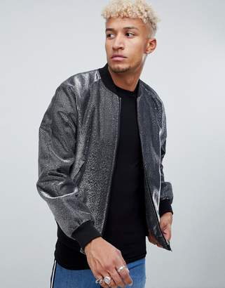 Asos Design DESIGN bomber jacket in silver metallic