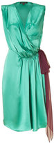 Sophie Theallet Turqoise/Ruby Silk Satin Wrap Dress