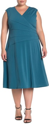 London Times Surplice Neck Pintuck Dress (Plus Size)