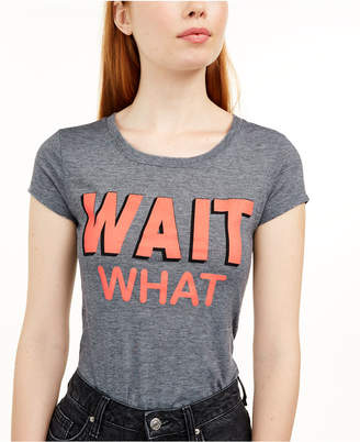 Love Tribe Juniors' Wait What Micro-Striped Graphic T-Shirt