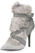 Charles Jourdan Knife Rabbit-Fur Bootie, Gray
