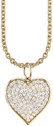 Sydney Evan Large Diamond Pave Heart Necklace - Yellow Gold