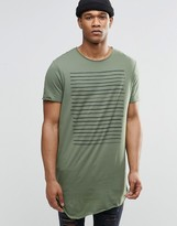 Asos Super Longline T-Shirt With Chest Stripe And Scoop Neck And Raw Edge
