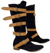 Vivienne Westwood Black & Tan Pirate Suede Boots
