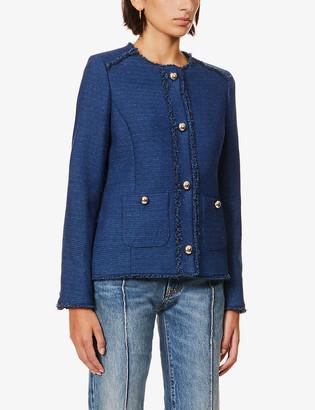 Tailored tweed collarless jacket