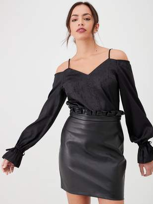 Very Cold Shoulder Printed Blouse - Black