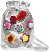 Simonetta Pompom Floral Laminated Faux Leather Bag
