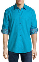 Robert Graham Cullen Tonal-Print Woven Sport Shirt, Aqua
