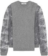 Valentino Guipure Lace-Paneled Ribbed Wool And Cashmere-Blend Sweater