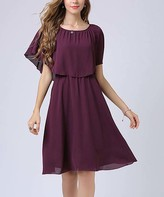 Vicky And Lucas Vicky and Lucas Women's Casual Dresses Purple - Purple Layered-Bodice Elastic-Waist A-Line Dress - Women