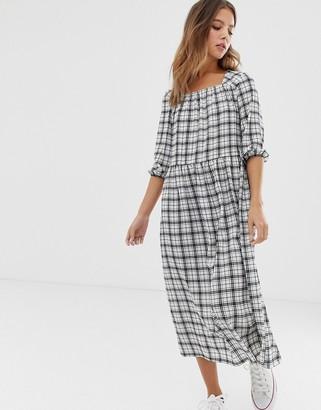 Nobody's Child square neck smock maxi dress in grid-White