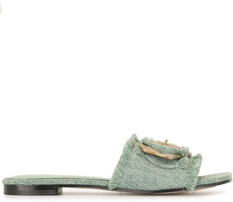 Mara & Mine Buckle-Embellished Slide Sandals