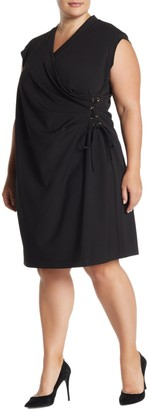 Anne Klein Cap Sleeve Side Lace-Up Dress (Plus Size)