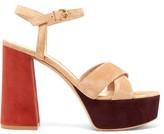 Gianvito Rossi Bebe 70 Suede Sandals - Womens - Beige Multi