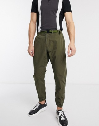 Paul Smith ripstop clip belt pants with cuffed leg in khaki