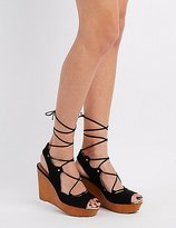 Charlotte Russe Qupid Lace-Up Wedge Sandals