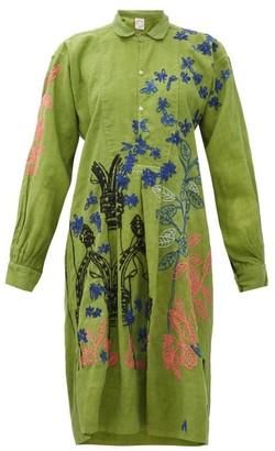 Kilometre Paris - Villa Ephrussi Embroidered-cotton Shirt Dress - Womens - Green Print