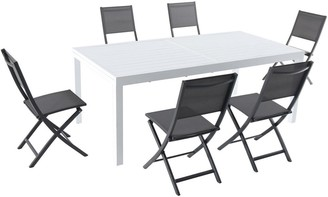 """Hanover Del Mar 7-Piece Outdoor Dining Set with 6 Folding Sling Chairs in Gray and a White 40"""" x 118"""" Expandable Dining Table"""