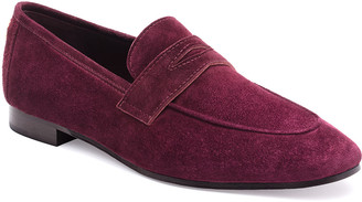 Bougeotte Suede Slip-On Penny Loafer, Wine