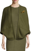 Lela Rose Reversible Cashmere Cape with Brooch, Olive/Taupe
