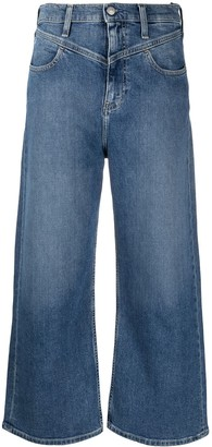 Calvin Klein Jeans cropped flared jeans with 'V' detail