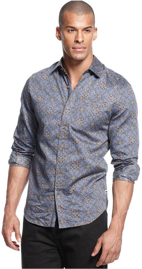 Sean John Shirt, Long Sleeve Lasso Print Shirt