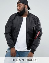 Alpha Industries Plus Ma1-tt Bomber Jacket Slim Fit In Black