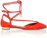 Aquazzura Women's Austin Ankle-Tie Flats-ORANGE