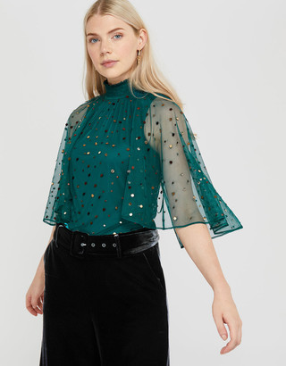 Monsoon Kimberley Sequin Cape Top Teal