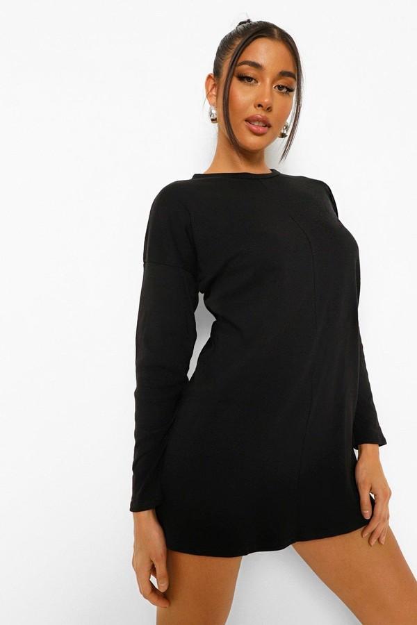 boohoo Long Sleeve Funnel Neck T Shirt Dress
