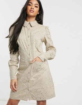 NA-KD broderie anglais button-through mini shirt dress in beige