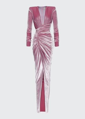 Alexandre Vauthier Velvet Deep-V Faux Wrap Dress